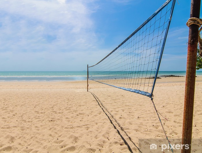 Beach volleyball net on a sunny day